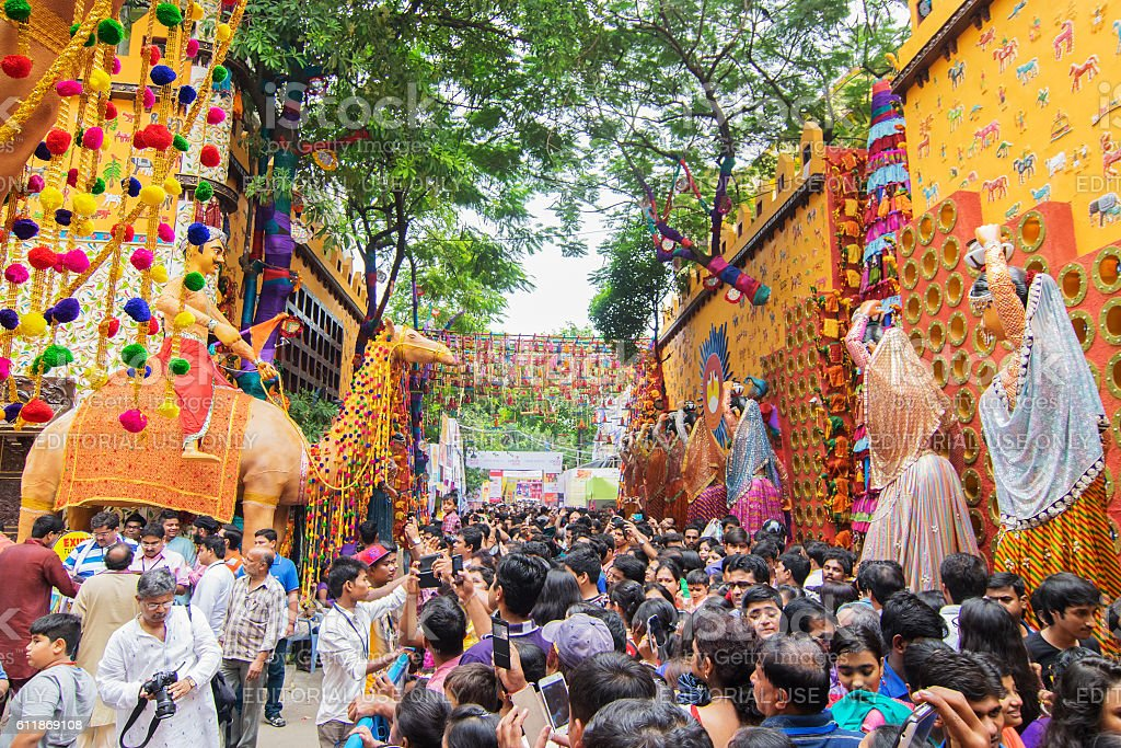 Crowd enjoying Durga Puja festival at Kolkata, West Bengal, India. stock photo