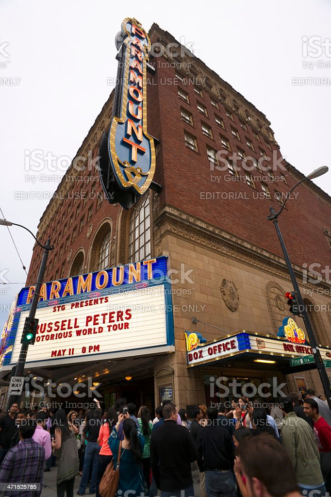 Crowd Gathered Entering Show Paramount Theater Seattle Russell Peters Tour stock photo