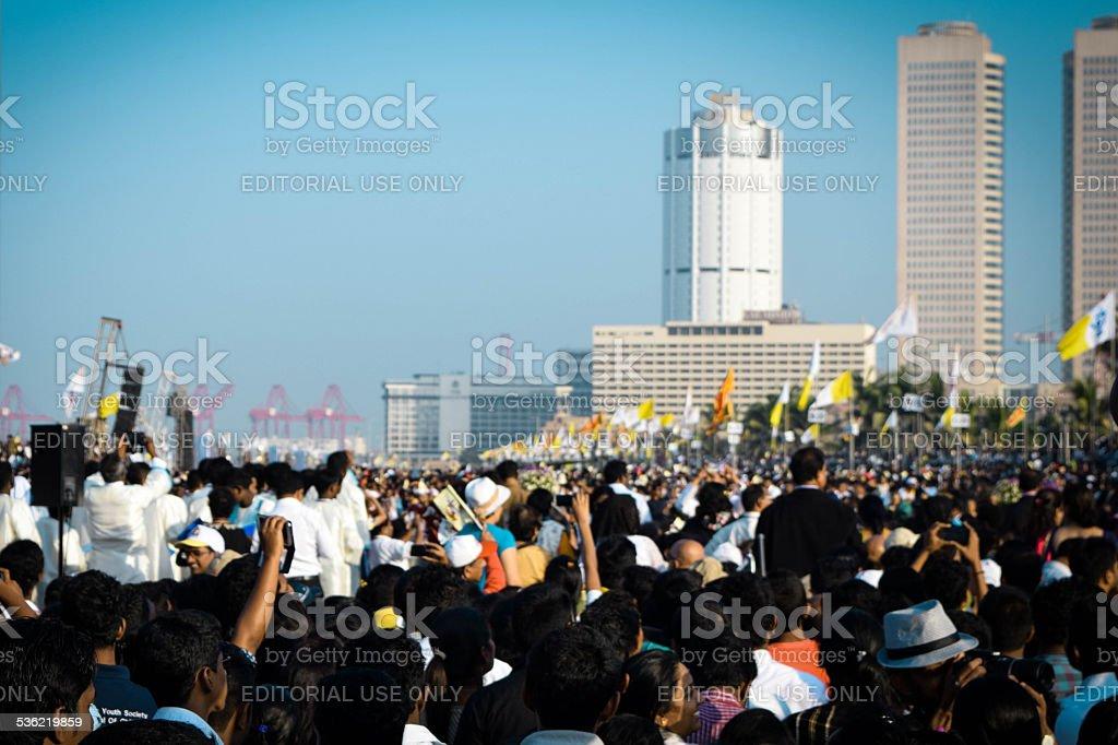 Crowd gathered for Pope Francis' Sri Lanka visit stock photo