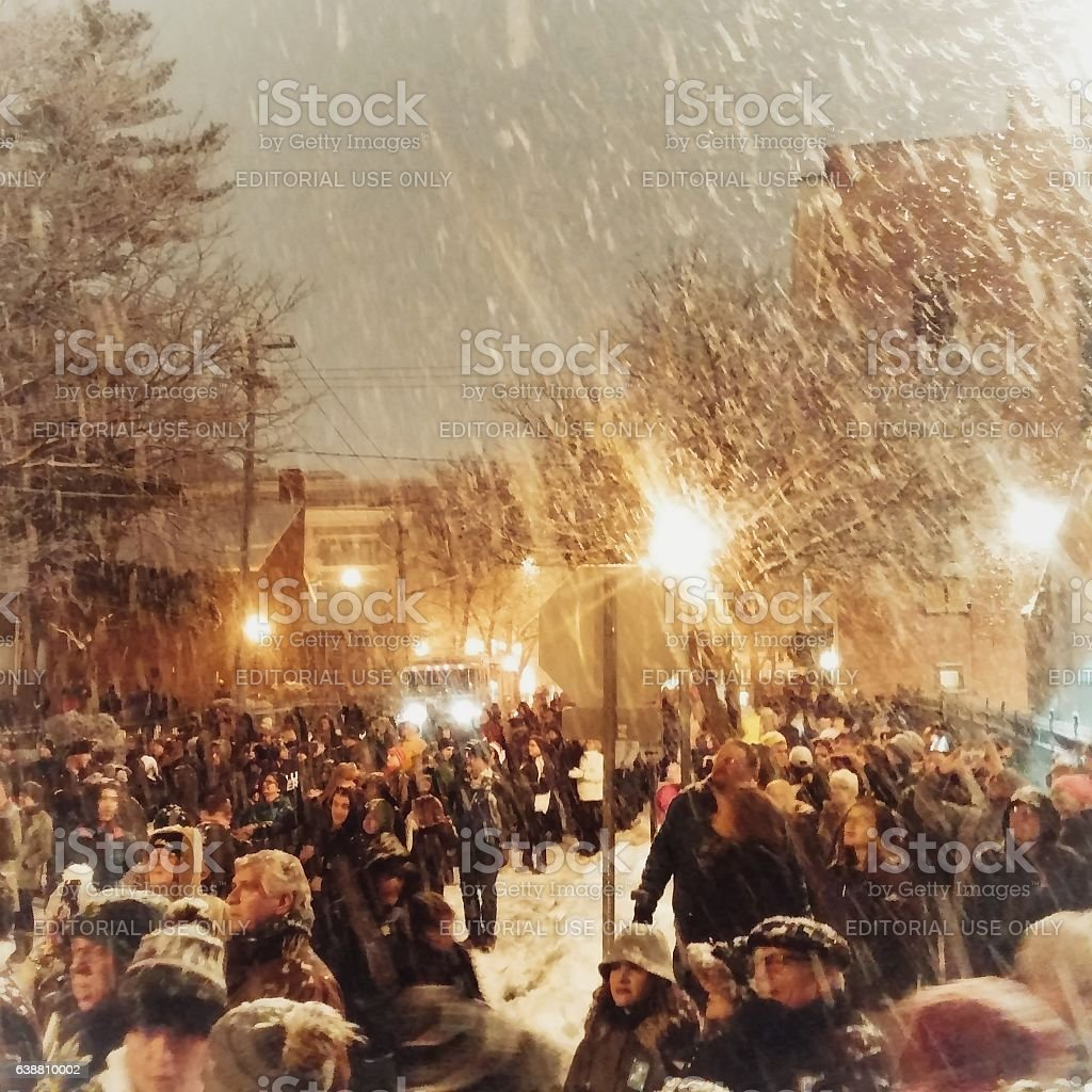 Crowd Gathered in Snowstorm, Saratoga Springs New Years Eve 2017 stock photo