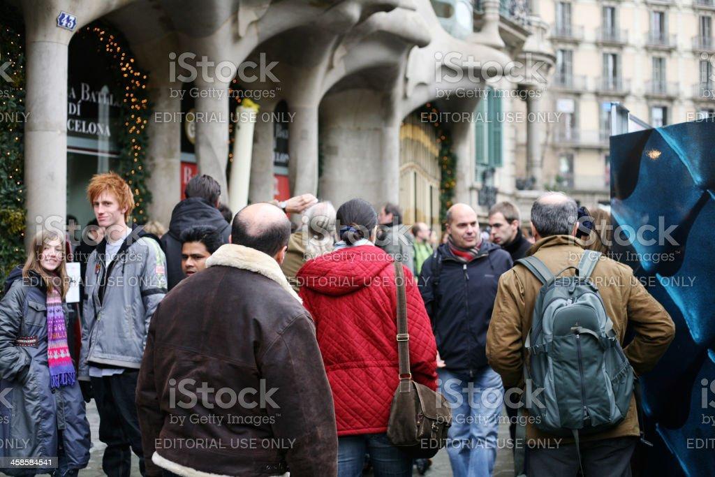 Crowd in Barcelona stock photo