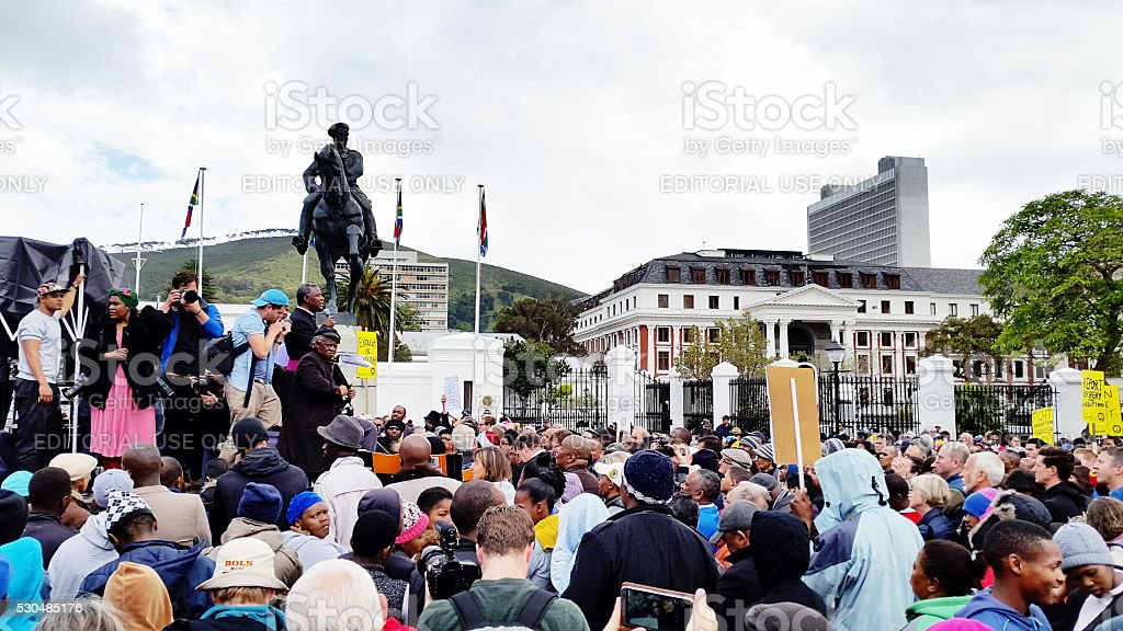 Crowd in Cape Town protesting against government corruption stock photo
