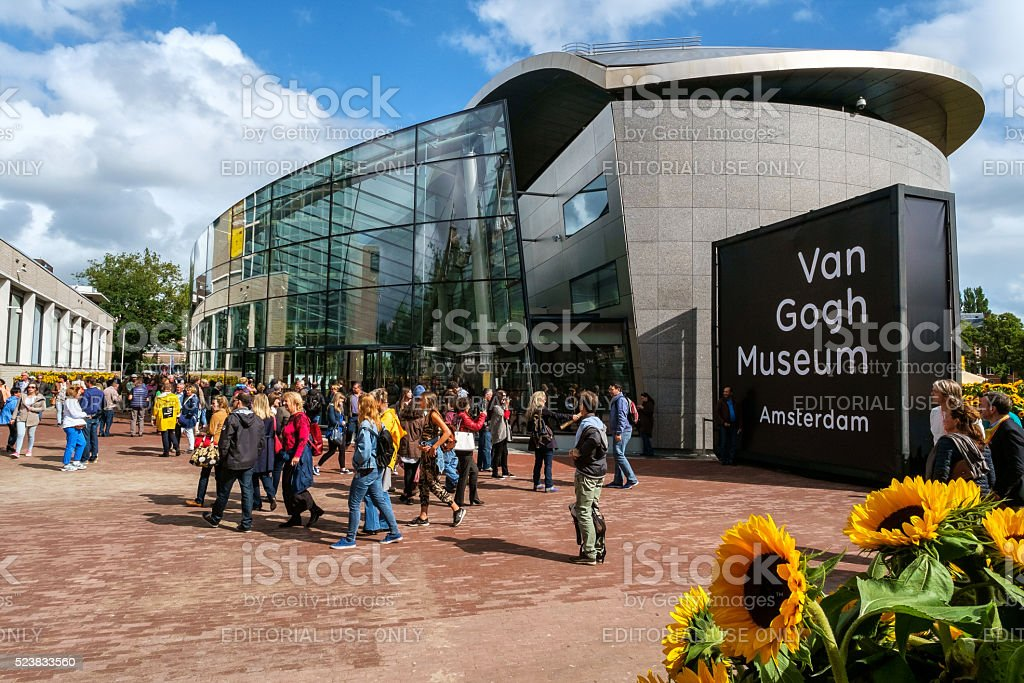 crowd in front of the Van Gogh Museum Amsterdam stock photo