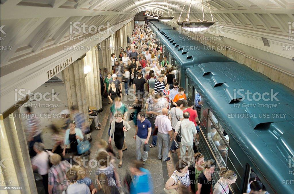 Crowd in Metro Station Teatralnaya, Moscow stock photo
