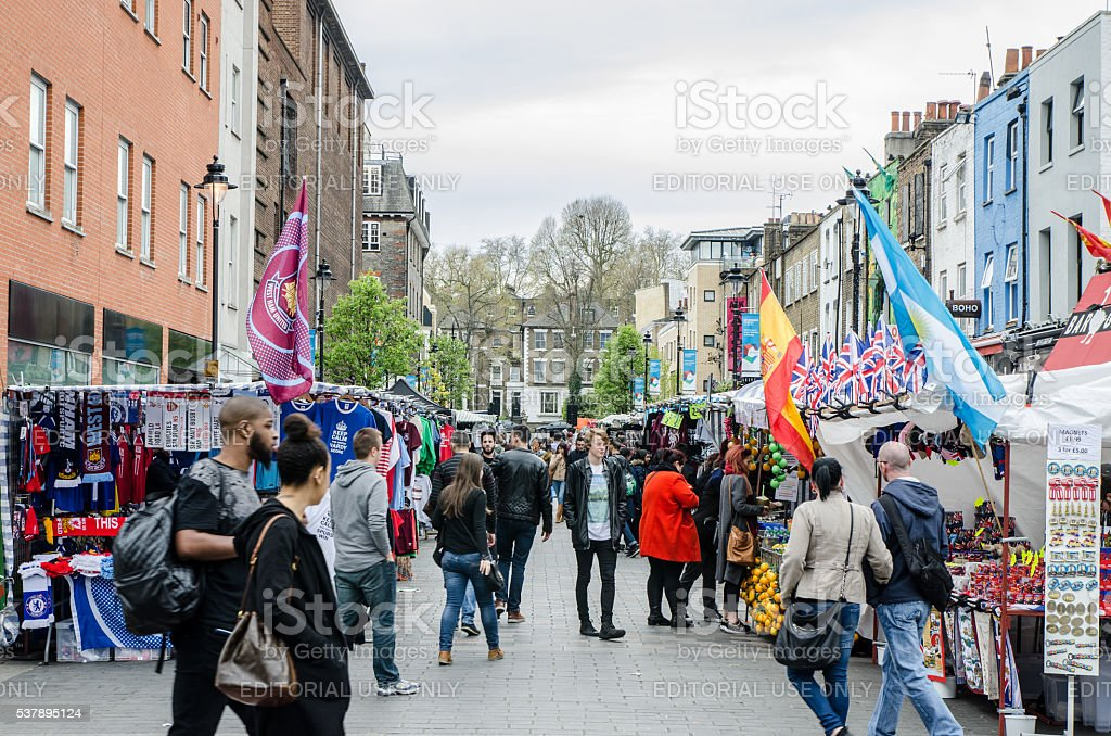 Crowd in street market of Camden stock photo