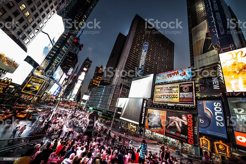 Crowd in Times Square New York stock photo