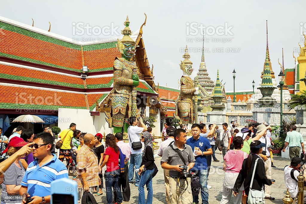 Crowd in Wat Phra Kaeo royalty-free stock photo