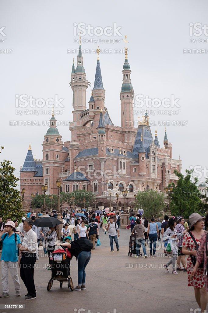 Crowd near castle in Disneyland Shanghai stock photo