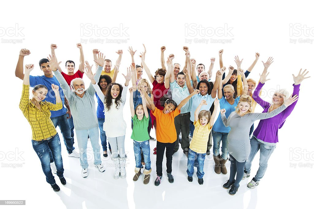 Crowd of a people with arms raised. royalty-free stock photo