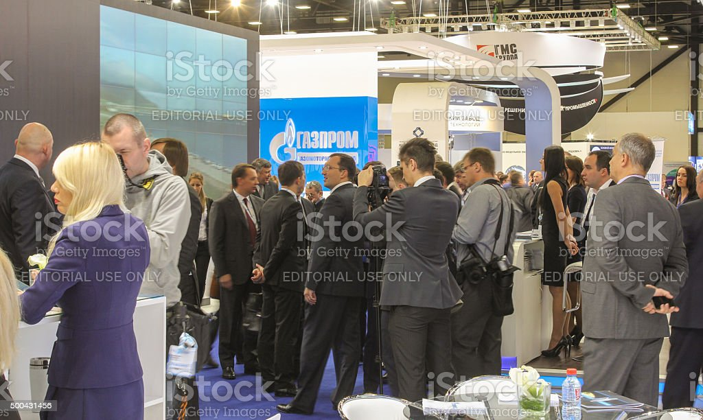 Crowd of business people at the forum. stock photo