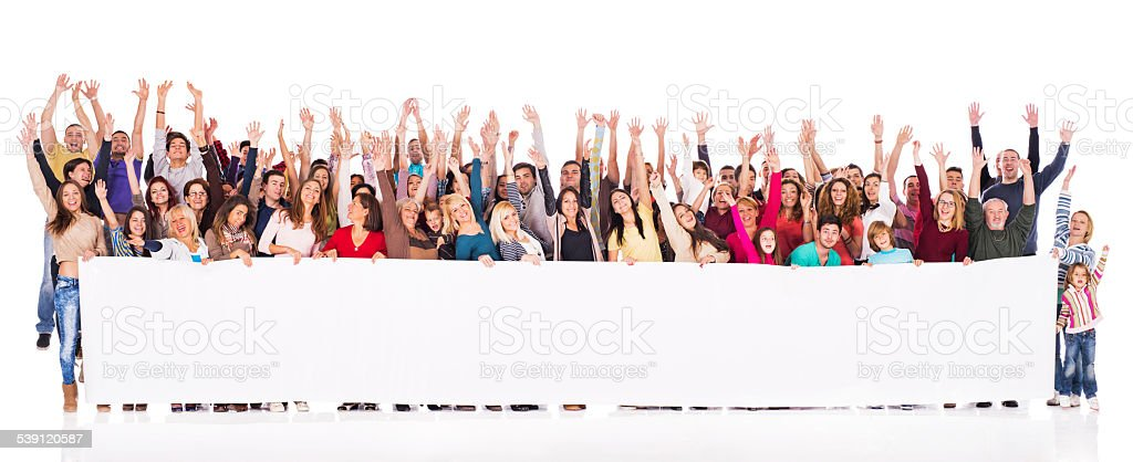 Crowd of cheerful people holding banner. stock photo