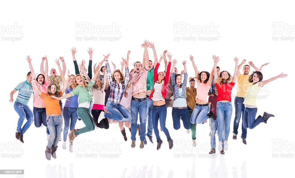 A crowd of cheerful youths jumping up in mid air in joy stock photo