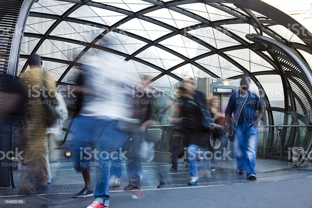 Crowd of Commuters Exiting Subway Station royalty-free stock photo