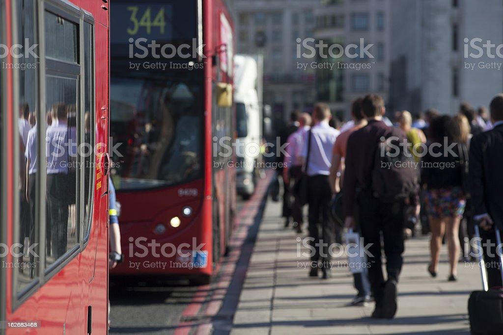 Crowd of commuters on London Bridge 04 stock photo