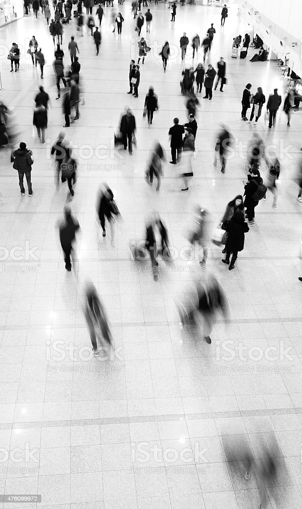 Crowd of commuters stock photo