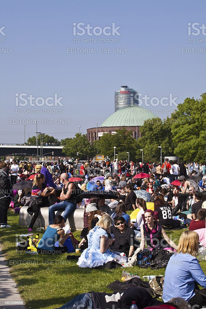 crowd of cosplayers at Japan Day in D?sseldorf royalty-free stock photo