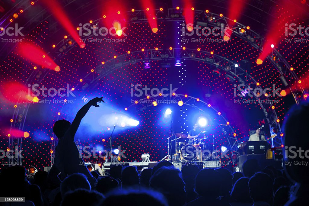 Crowd of fans at a concert stock photo