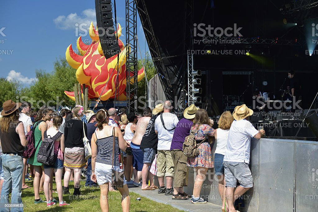 Crowd of festival goers in front of the main stage stock photo