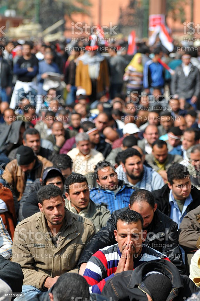 Friday prayers in Tahrir Sqaure stock photo