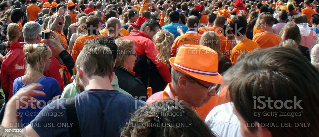 Crowd Of Netherlands Soccer Team Fans Wearing Orange T Shirts stock photo