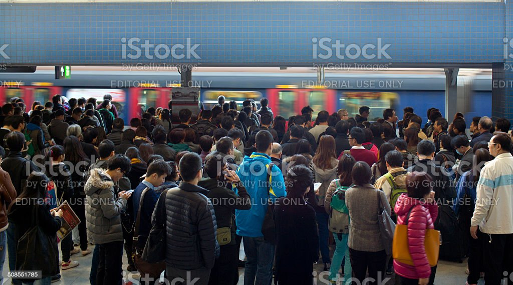crowd of passengers stock photo