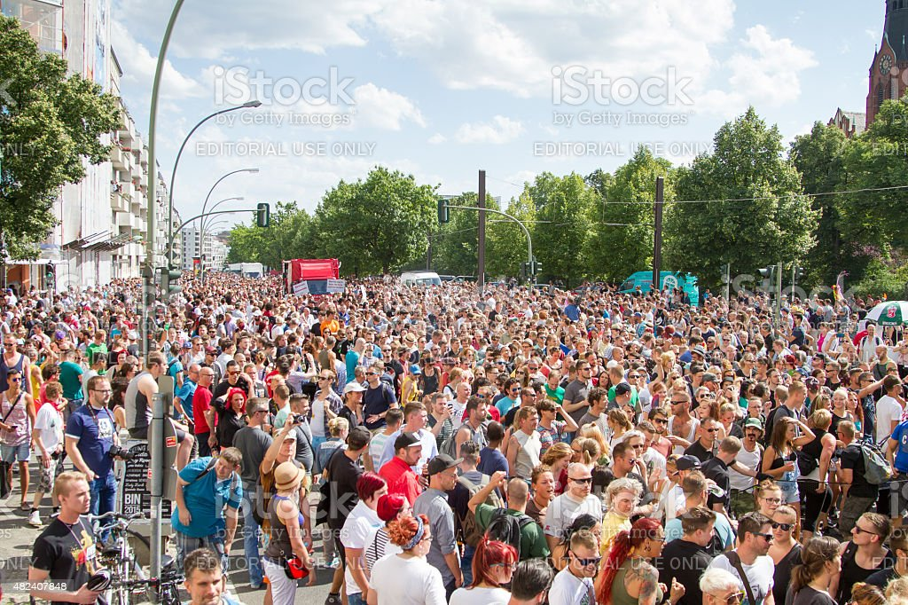 Crowd of people at big party stock photo