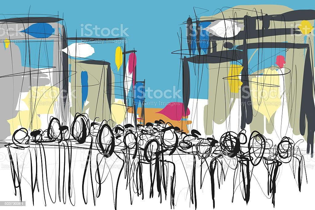 crowd of people doodle sketch stock photo