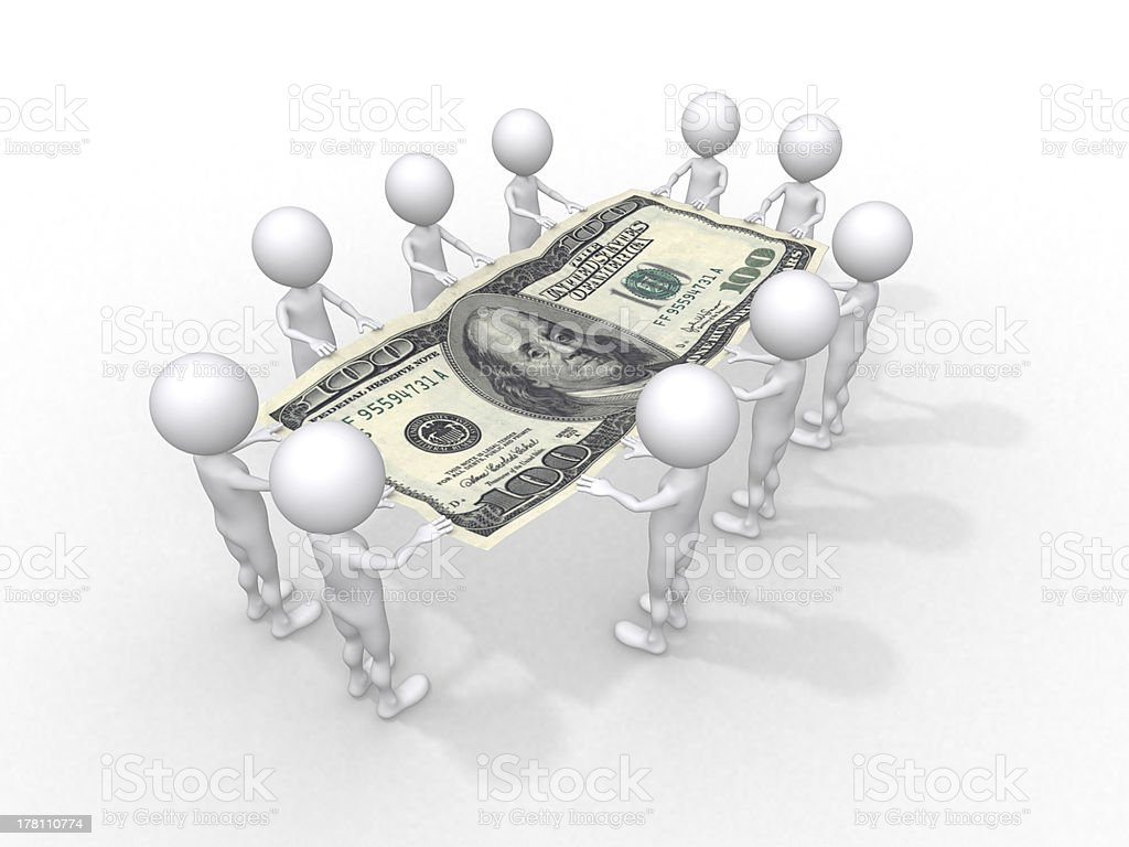 crowd of people holding one hundred dollar stock photo