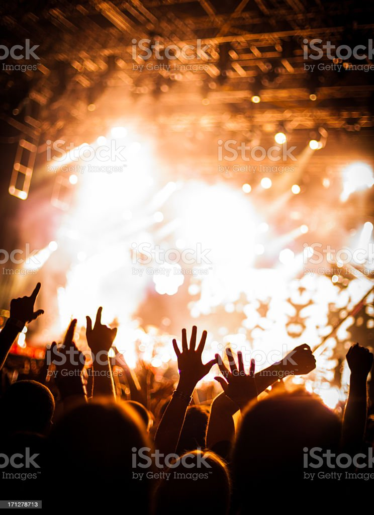 A crowd of people in a party atmosphere royalty-free stock photo