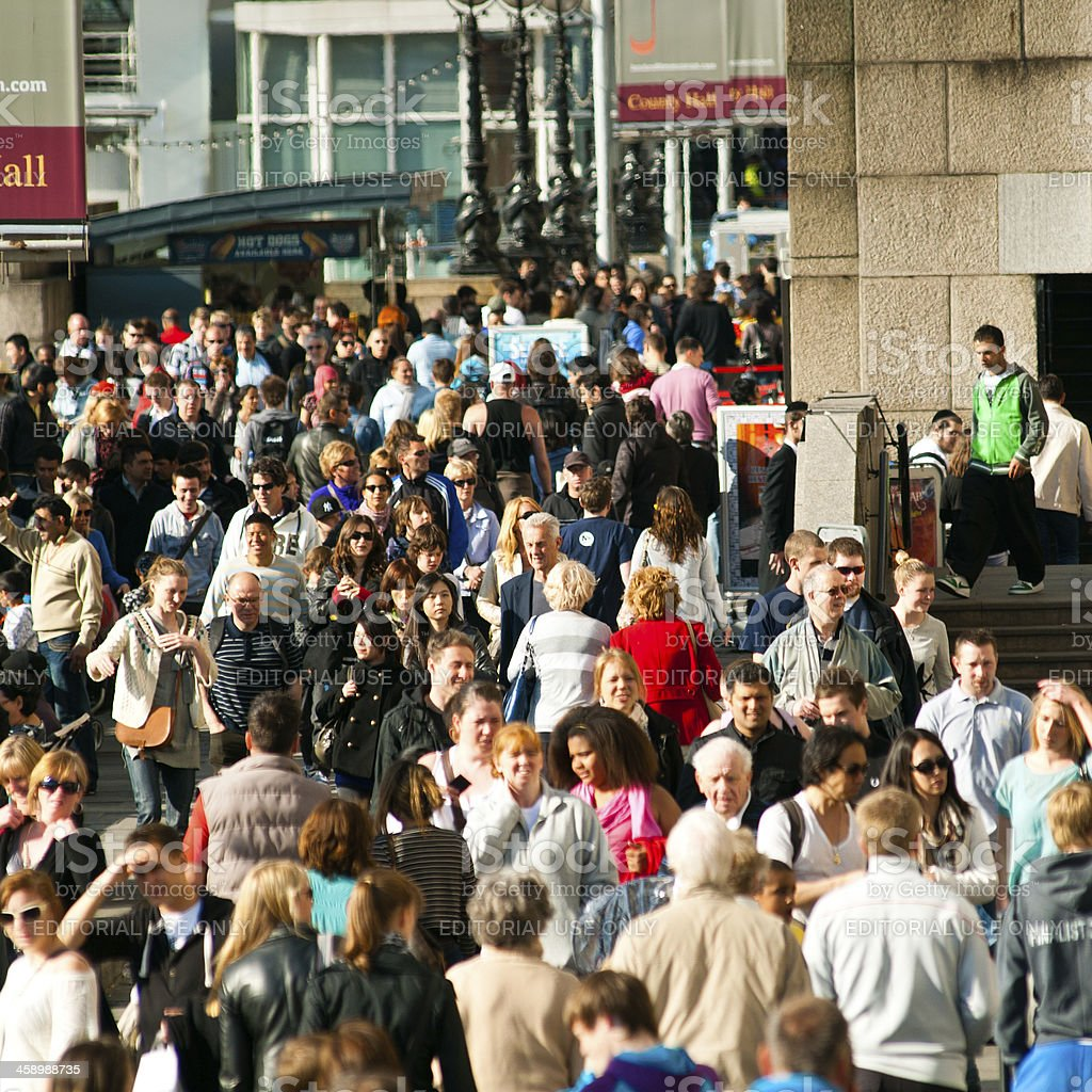 Crowd of people in London stock photo