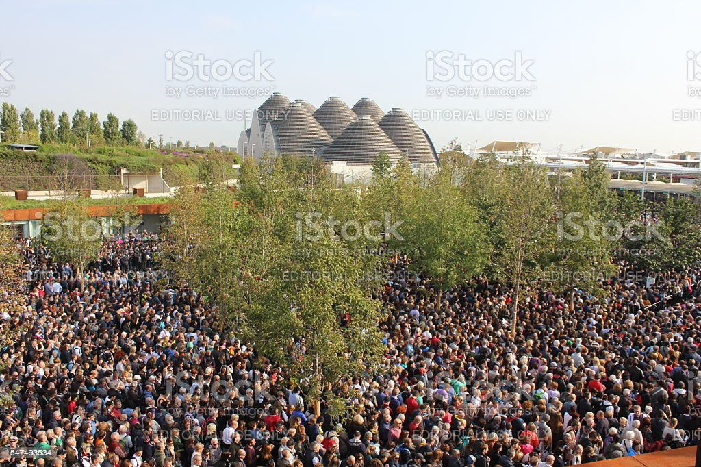 Crowd of people lining up to access Expo stock photo