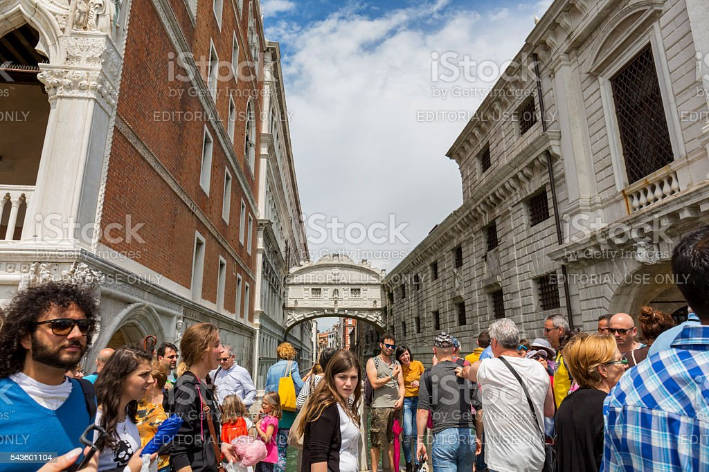 Crowd of people near the Bridge of Sighs in Venice stock photo
