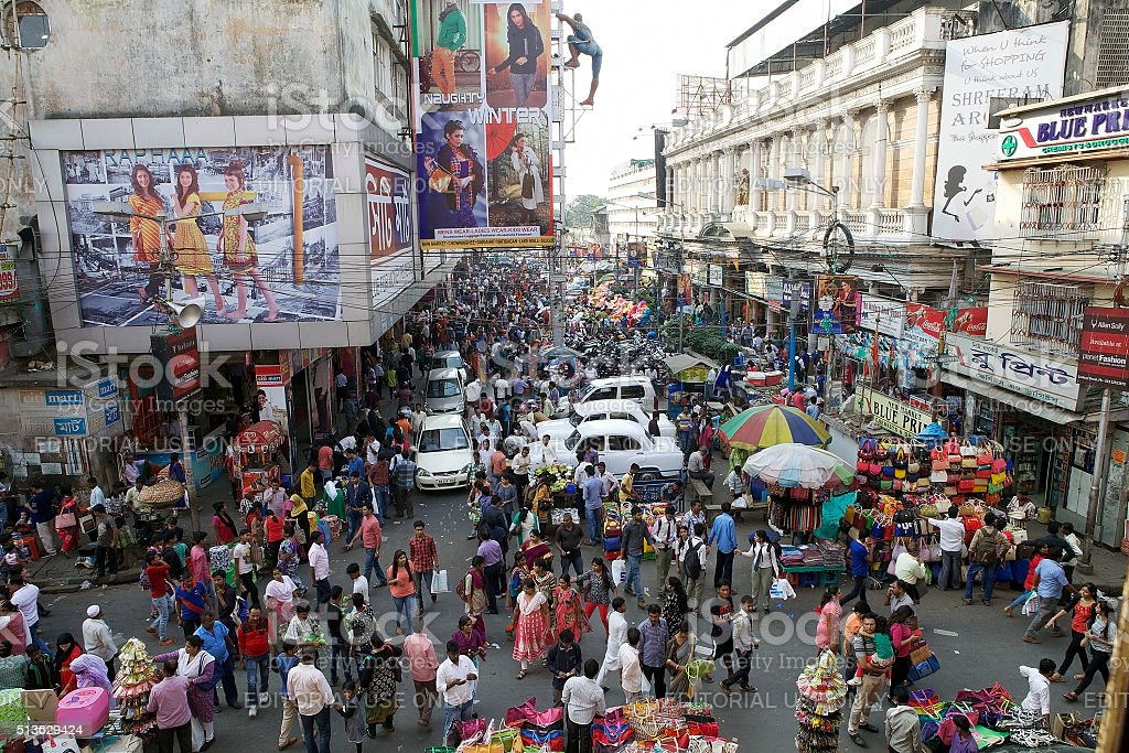 Crowd of people near the New Market, Kolkata, India stock photo