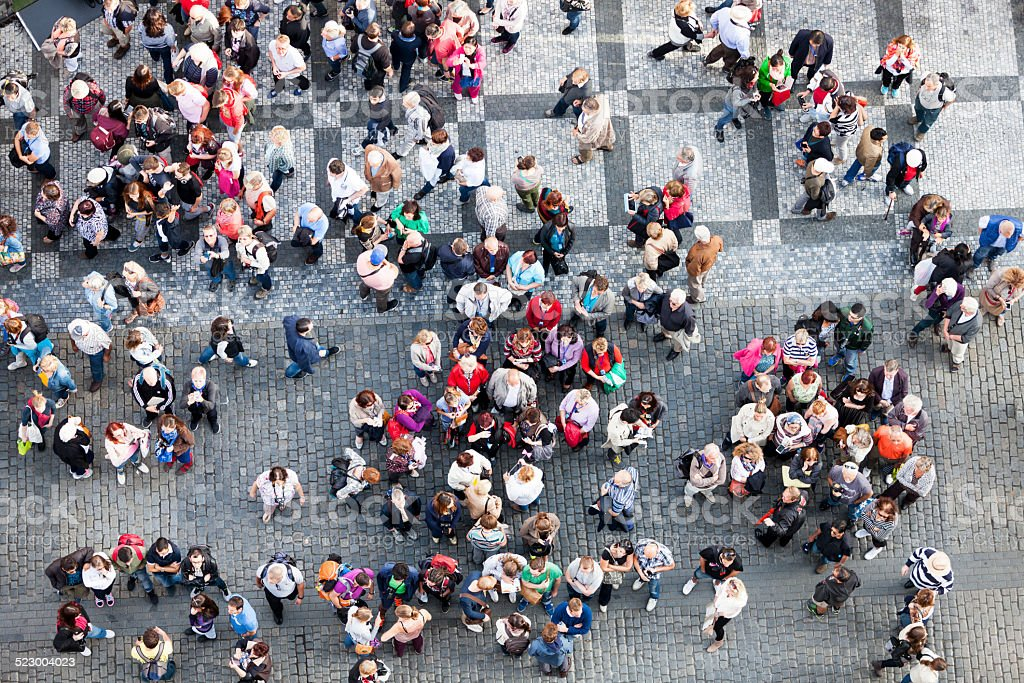 Crowd of People, Old Town Square, Prague, Czech Republic stock photo