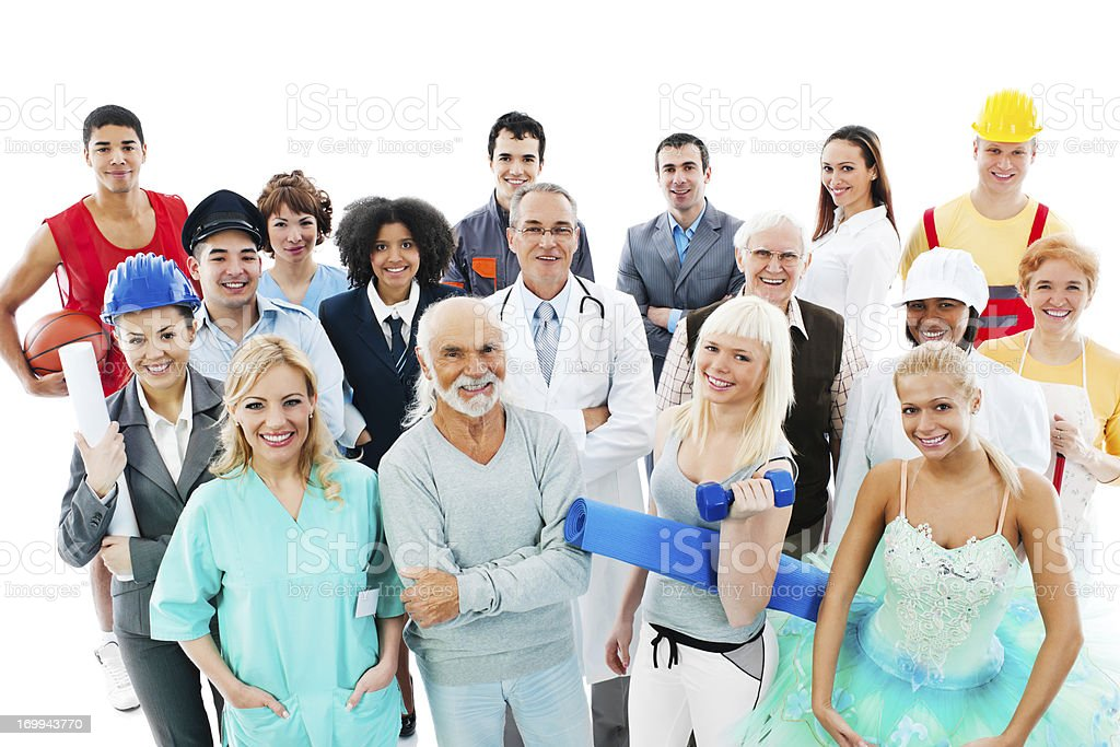 Crowd of  people on a Various Occupations. stock photo