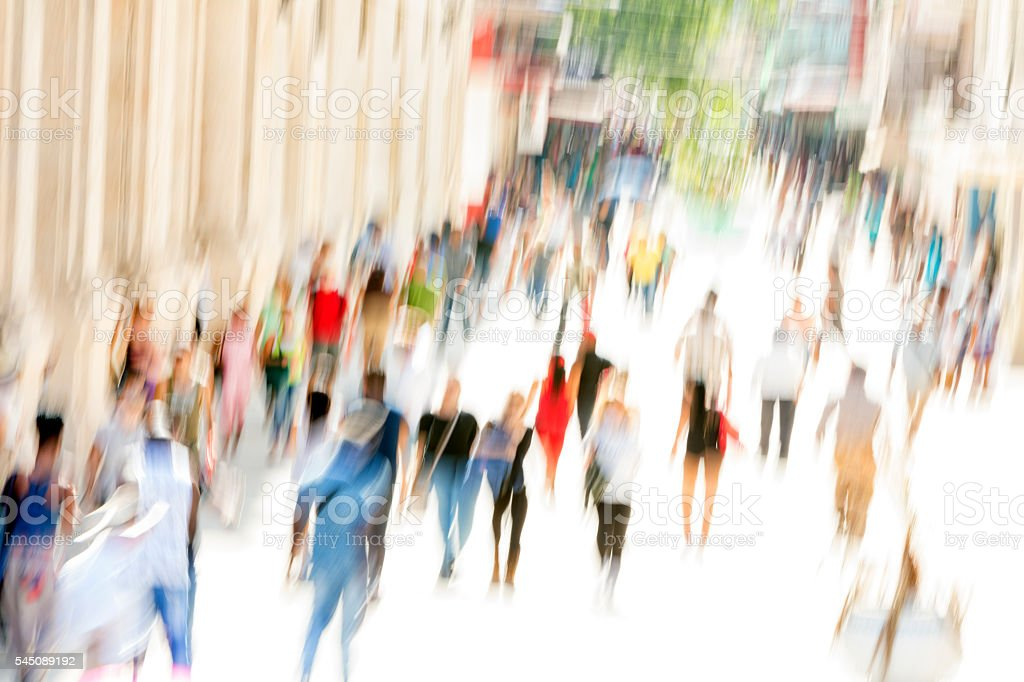 Crowd of People on Shopping Street stock photo
