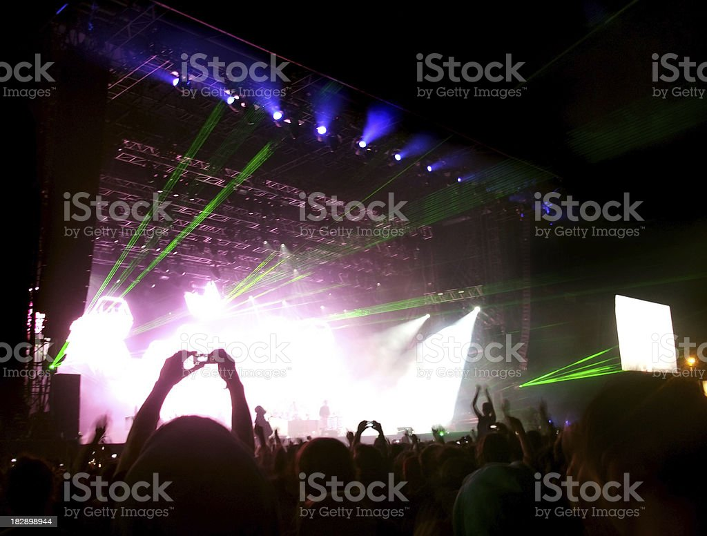 crowd of people on stage stock photo