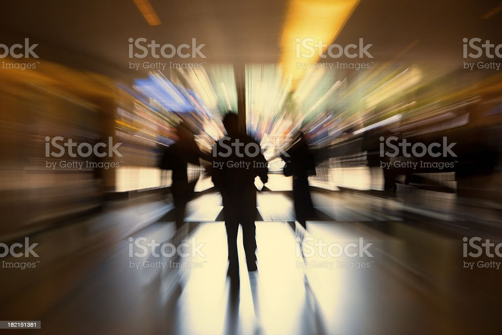 Crowd of People Rushing Through Corridor, Blurred Motion, stock photo