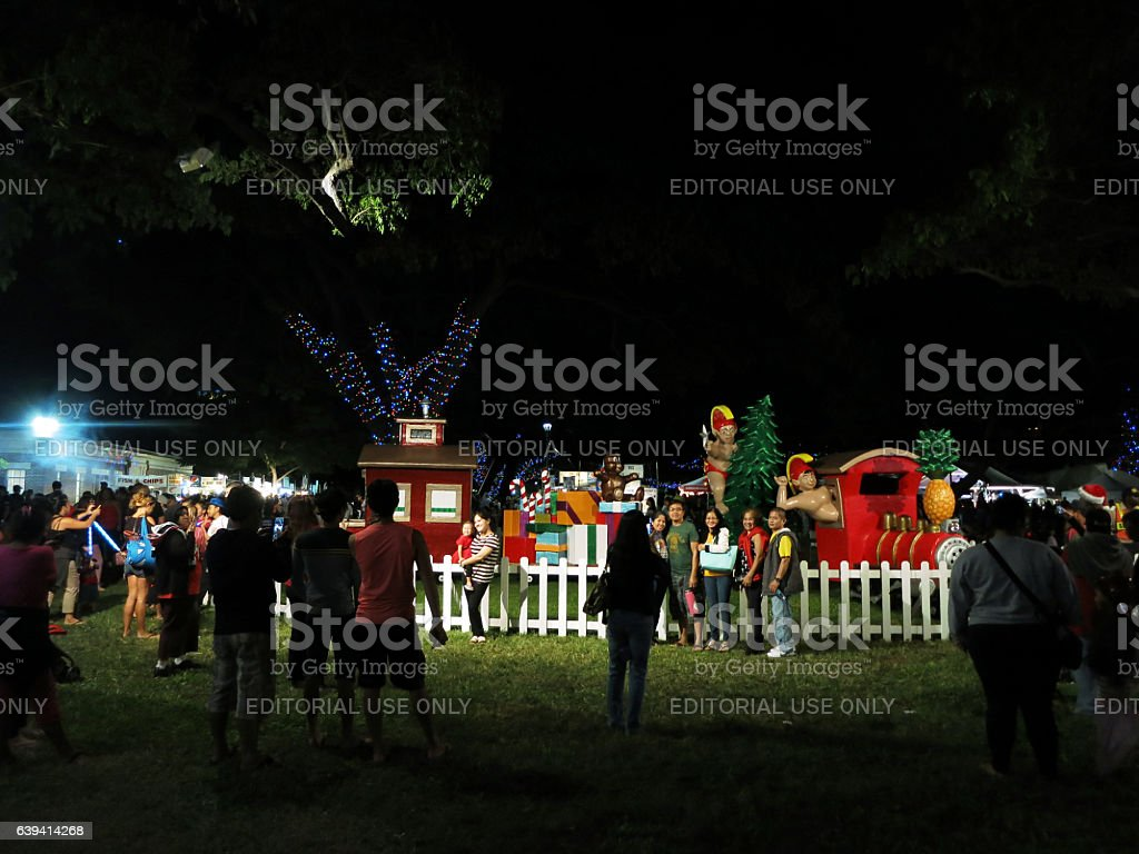 Crowd of people take photos in front of Christmas stock photo