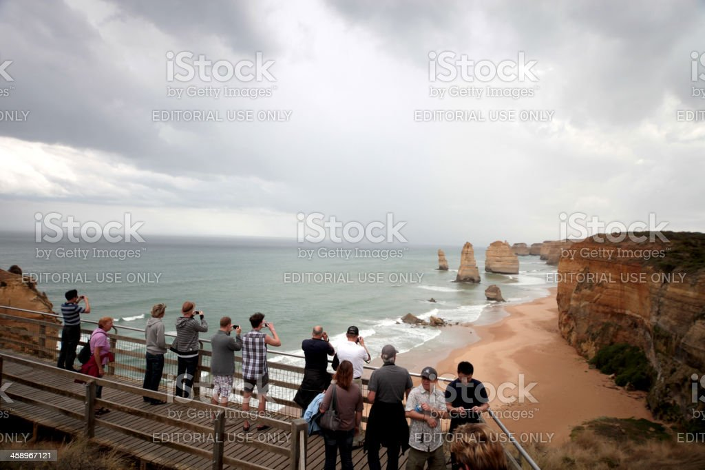 Crowd of people taking pictures to 12 Apostles royalty-free stock photo