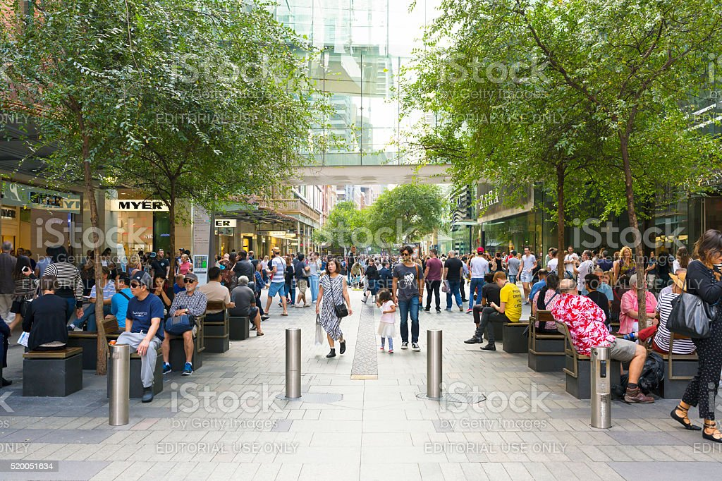 Crowd of people, tourists and sightseers on Pitt Street Mall stock photo