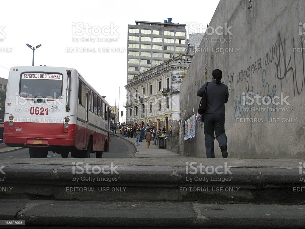 Crowd of people waiting for bus in downtown Quito royalty-free stock photo