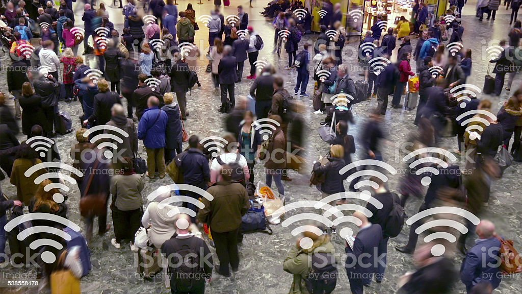 Crowd of people with connection symbols. stock photo