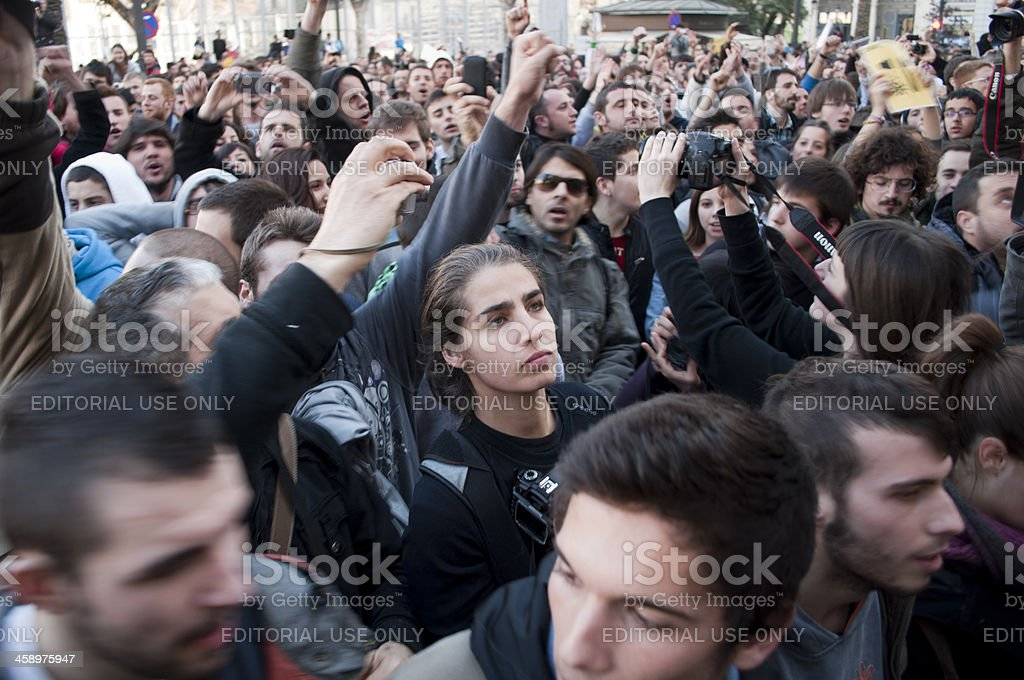 Crowd of protesters stock photo