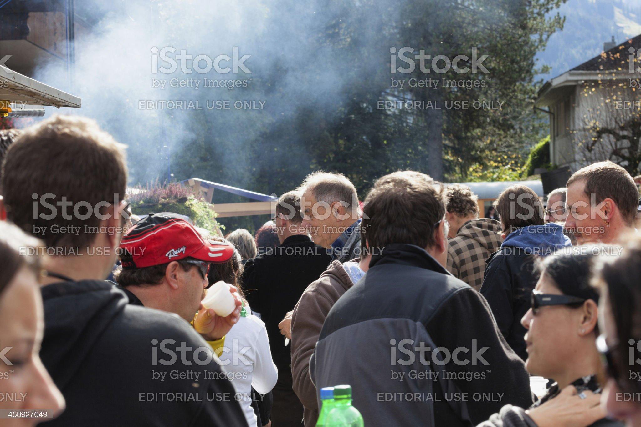 Crowd of spectators at Harvest Festival Aelplerfest in Lenk royalty-free stock photo