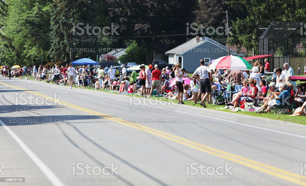 Crowd of Spectators Waiting for Parade stock photo