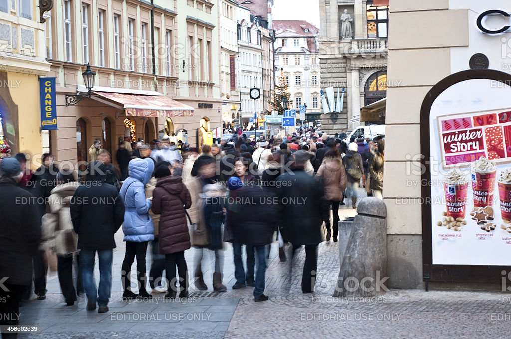 Crowd of tourist in Prague city centre royalty-free stock photo