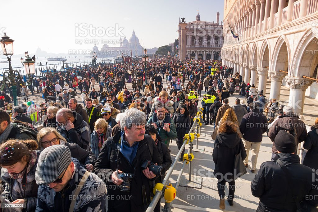 Crowd of tourists in front the Doge's Palace-Venice, Italy stock photo