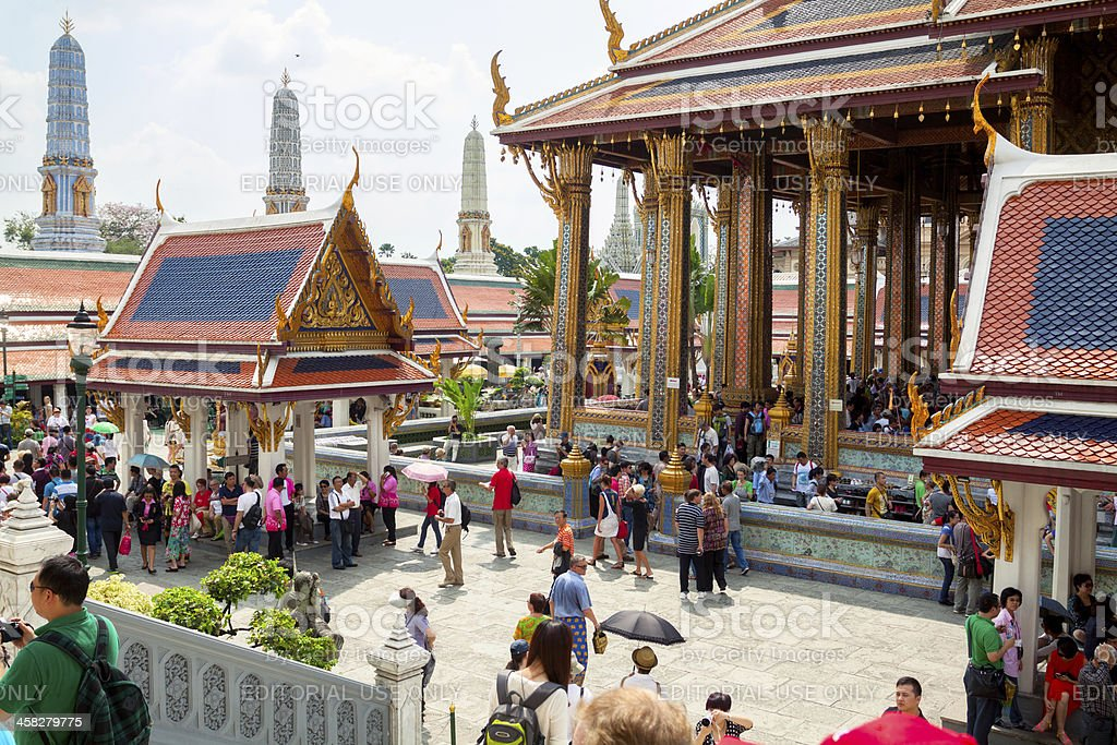 Crowd of tourists in Wat Phra Kaeo royalty-free stock photo