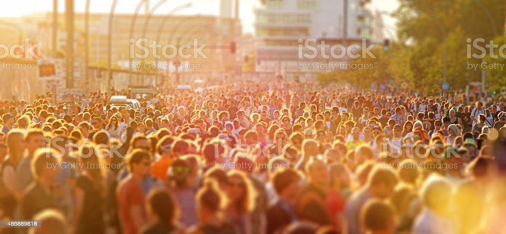 Crowd of young people at music street festival in Berlin stock photo